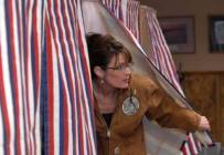 Sarah Emerging from Voting Booth - larger shot