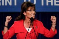 Sarah gestures during speech at Florida GOP rally