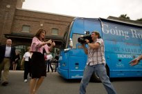 Sarah Gives Thumbs Up To Crowd at the Villages Just Before Fox and Friends Interview