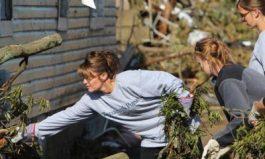 Sarah helping clear debris at JL Price house in Birmingham