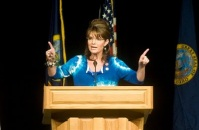 Sarah in blue tie-dye blouse in Boise Idaho at Vaughn Ward campaign rally