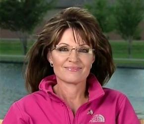 Sarah in bright pink shirt - FOX News interview