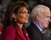 U.S. Republican vice-presidential nominee Alaska Governor Sarah Palin (L) and U.S. Republican presidential nominee Senator John McCain (R-AZ) stand onstage together at a campaign rally in Hershey