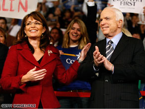 Sarah in red jacket and McCain