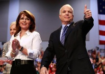Sarah in White Blouse with McCain thumb up