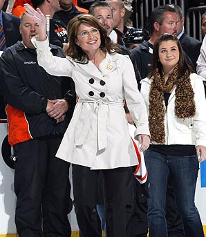 Sarah in White Jacket at Flyers Game