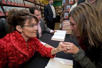 Sarah Listening to Woman at Richland Book Siging