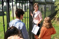 Sarah outside fence at Civil War cemetery in Gettysburg