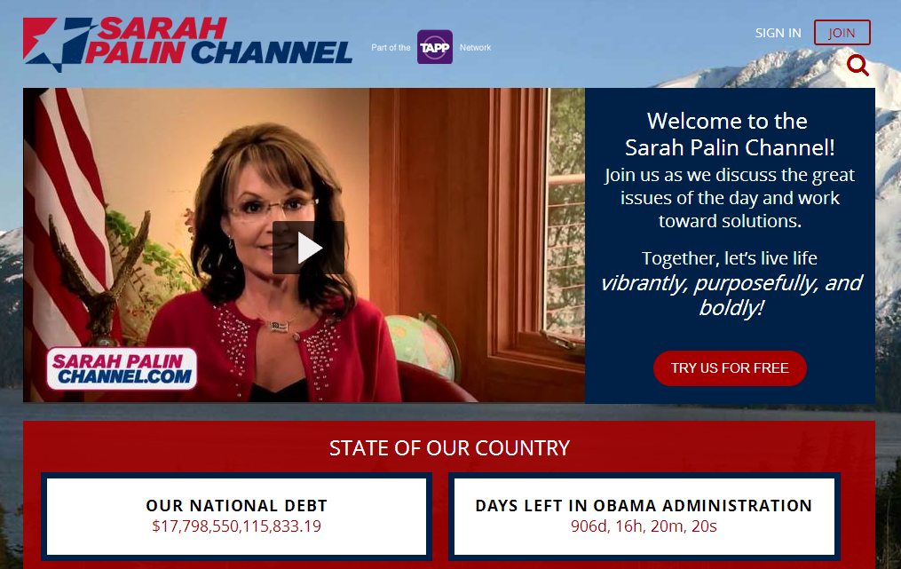 Sarah Palin Channel Screen Shot (visible screen)