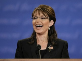 sarah palin in black jacket laughing