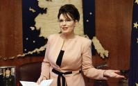 Sarah Palin in Peach Jacket in Alaska Office