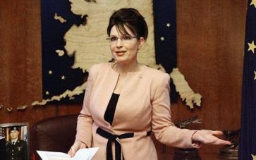 Sarah Palin in Peach Jacket in Alaska Office