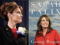 Sarah Palin - side view - red blouse-black jacket-white corsage