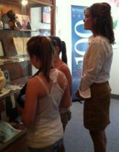 Sarah Piper and niece inspect Reagan memorabilia at Reagan museum at Eureka College