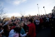 Sarah Shaking Hands with Crowd in Richland