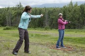 Sarah shows Bristol how to shoot clay pigeons
