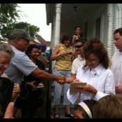 Sarah signing autograph at Reagan boyhood home