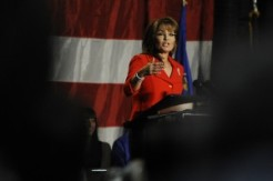Sarah speaking at Colorado State University Tribute to the Troops
