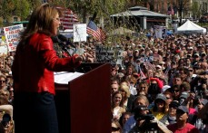 Former Alaska Governor and 2008 Republican vice presidential nominee Palin speaks at a Tea Party Express rally on Boston Commons in Boston
