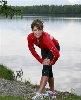 Sarah stretching for running