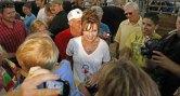 Sarah talks to reporters at Iowa State Fair