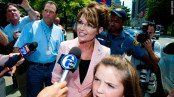Sarah talks with reporters in Philadelphia - Piper in foreground
