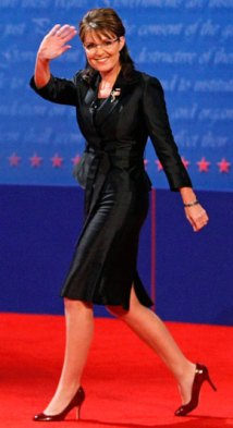 Sarah Walking and Waving at Debate