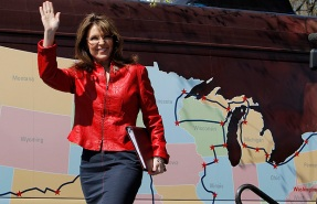 Former Alaska Governor and 2008 Republican vice presidential nominee Palin takes the stage at a Tea Party Express rally on Boston Commons in Boston