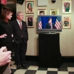 Sarah watching Tina Fey on monitor at SNL