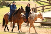 Side view of Sarah and other rider at Reagan Ranch