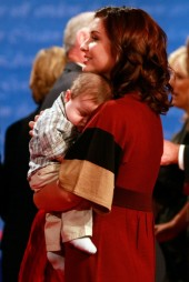 Side View of Willow as she holds Trig after vice presidential debate