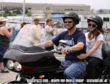 Todd and Piper ride motorcycle at Rolling Thunder rally