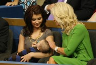 Willow sitting beside Cindy McCain and holding Trig
