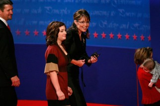 Willow walks beside Sarah as they leave stage after vice presidential debate - Todd - Piper and Trig