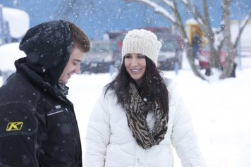 Bristol and Gino in snowy scene
