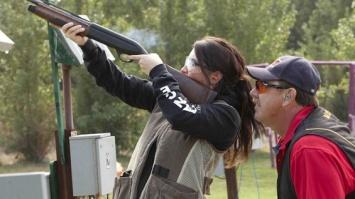 Bristol shooting a gun in Lifes a Tripp series