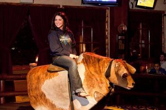 Bristol sitting on mechanical bull