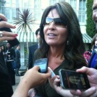 Closeup of Sarah as she speaks to reporters at NBC party in LA
