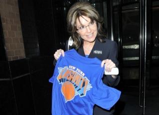 Closeup of Sarah holding Linsanity shirt in Manhattan