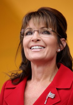 Closeup of Sarah smiling at TPX rally NH