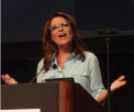 Closeup of Sarah speaking at New Orleans Bakers Conference
