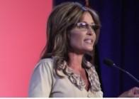 Closeup of Sarah speaking at RightOnline