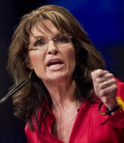 Closeup of Sarah with fist clenched for emphasis at CPAC 2012