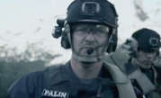 Closeup of Todd wearing helmet during Stars Earn Stripes