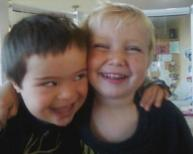 Closeup of Trig and Tripp laughing together