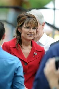 Nice photo of Sarah - slightly smiling - at Tea Party rally NH
