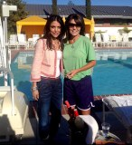 Sarah and Bethenny Frankel by pool
