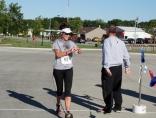 Sarah Checking Time After Marathon in Storm Lake IA