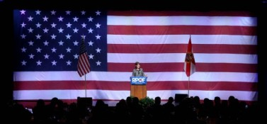 Sarah from a distance at Orlando speech - 11-03-11