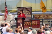 Sarah gestures as she speaks at TPX rally in NH on Labor Day 2011
